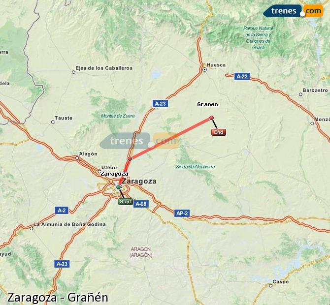 Karte vergrößern Züge Zaragoza Grañén