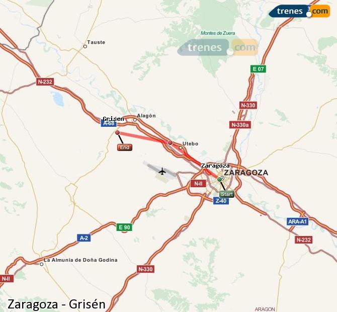 Ingrandisci la mappa Treni Zaragoza Grisén