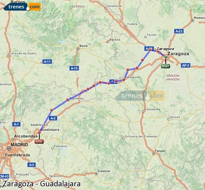Enlarge map Trains Zaragoza to Guadalajara