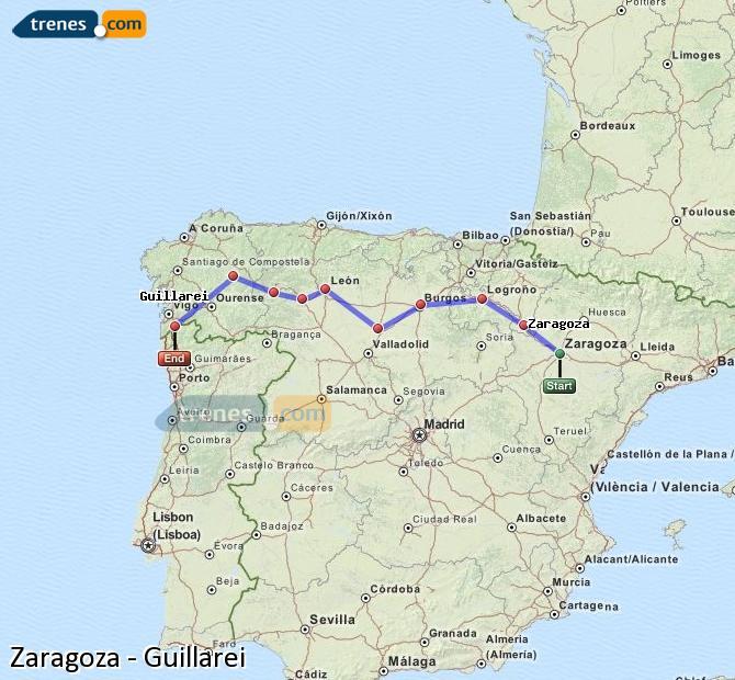 Ampliar mapa Trenes Zaragoza Guillarei