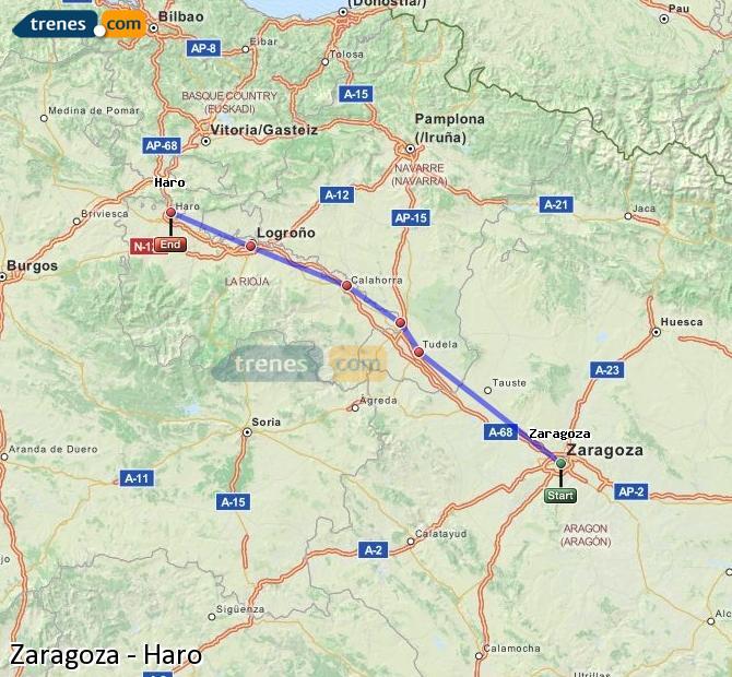 Ampliar mapa Trenes Zaragoza Haro