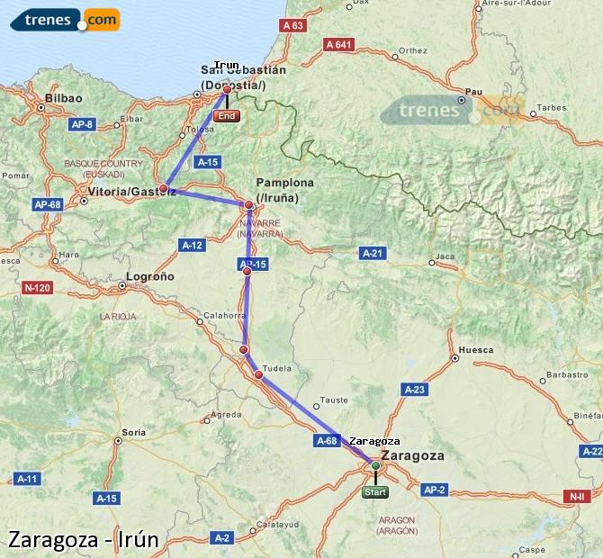 Agrandir la carte Trains Zaragoza Irún