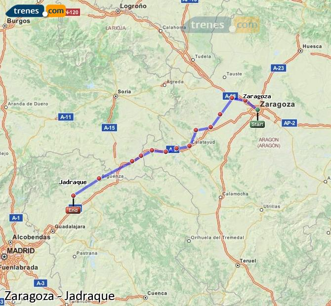 Enlarge map Trains Zaragoza to Jadraque
