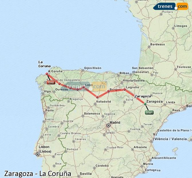 Ingrandisci la mappa Treni Zaragoza La Coruña