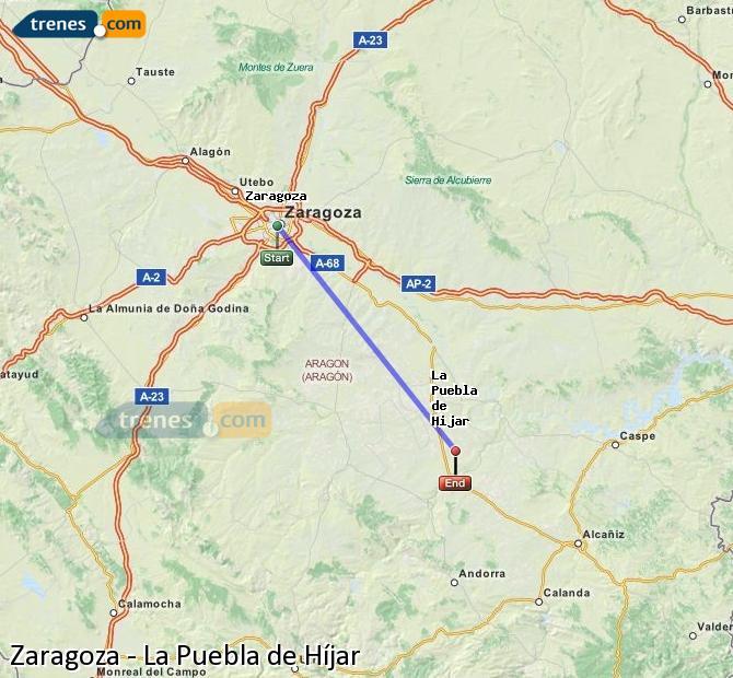 Ingrandisci la mappa Treni Zaragoza La Puebla de Híjar
