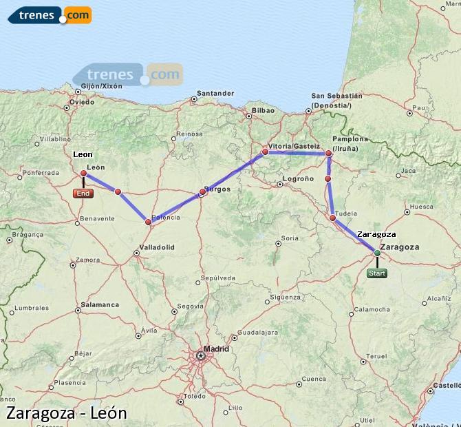 Enlarge map Trains Zaragoza to Lion