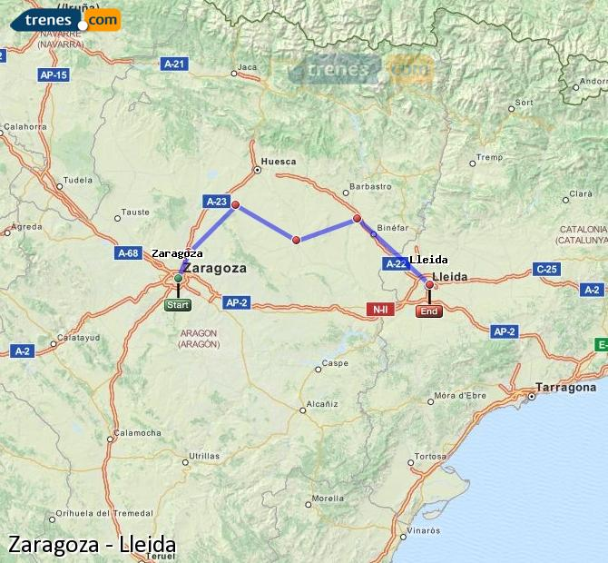 Enlarge map Trains Zaragoza to Lleida
