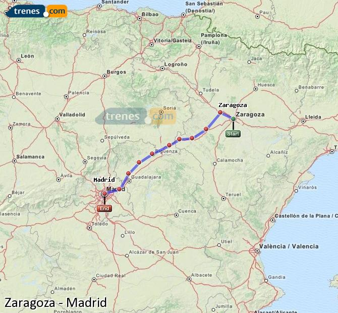 Enlarge map Trains Zaragoza to Madrid