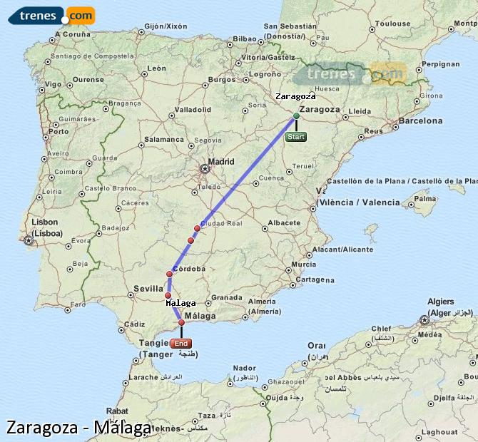 Agrandir la carte Trains Zaragoza Málaga