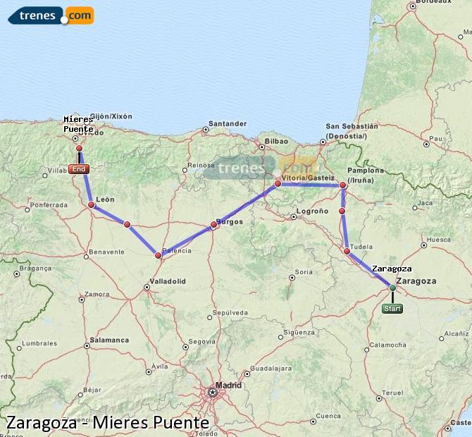 Karte vergrößern Züge Zaragoza Mieres Puente