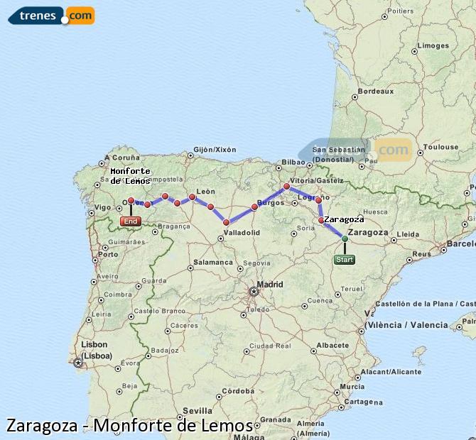 Ingrandisci la mappa Treni Zaragoza Monforte de Lemos