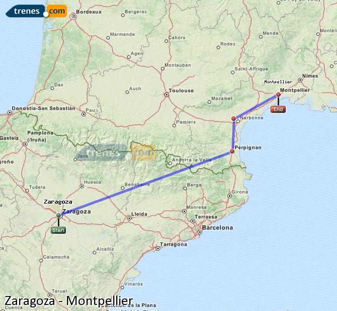 Karte vergrößern Züge Zaragoza Montpellier