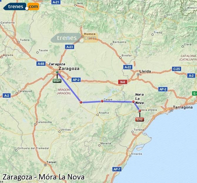 Ingrandisci la mappa Treni Zaragoza Móra La Nova