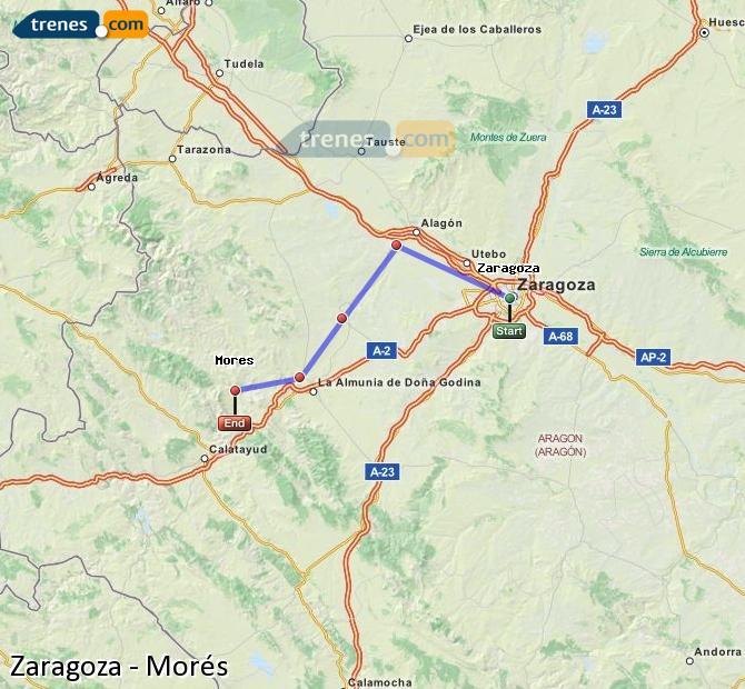 Agrandir la carte Trains Zaragoza Morés