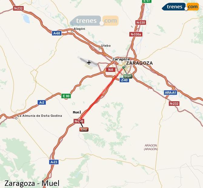 Ingrandisci la mappa Treni Zaragoza Muel