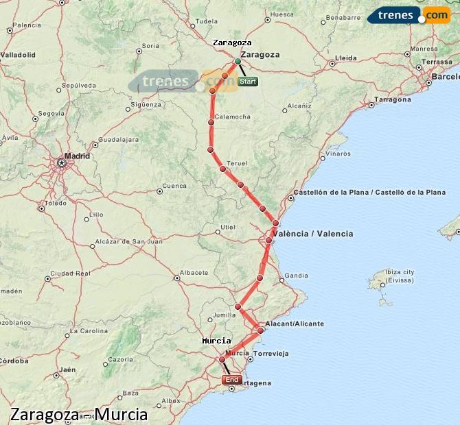 Ampliar mapa Trenes Zaragoza Murcia