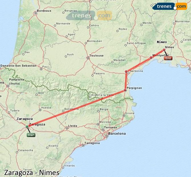 Enlarge map Trains Zaragoza to Nimes