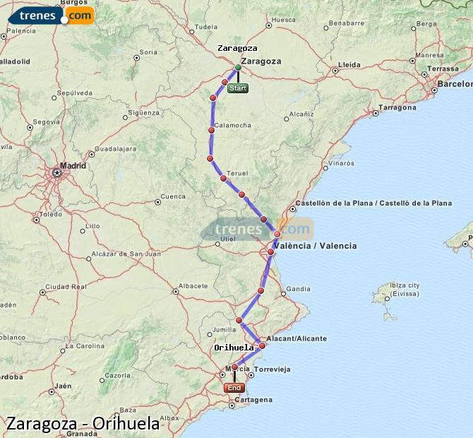 Ingrandisci la mappa Treni Zaragoza Orihuela