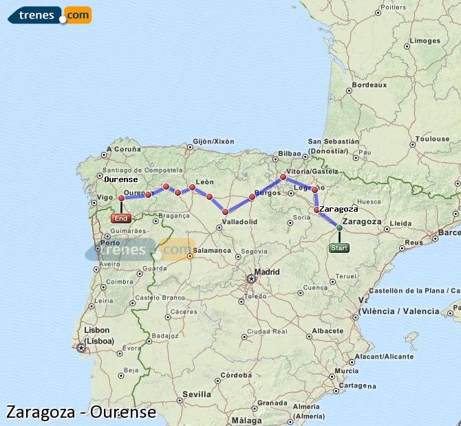 Ingrandisci la mappa Treni Zaragoza Ourense