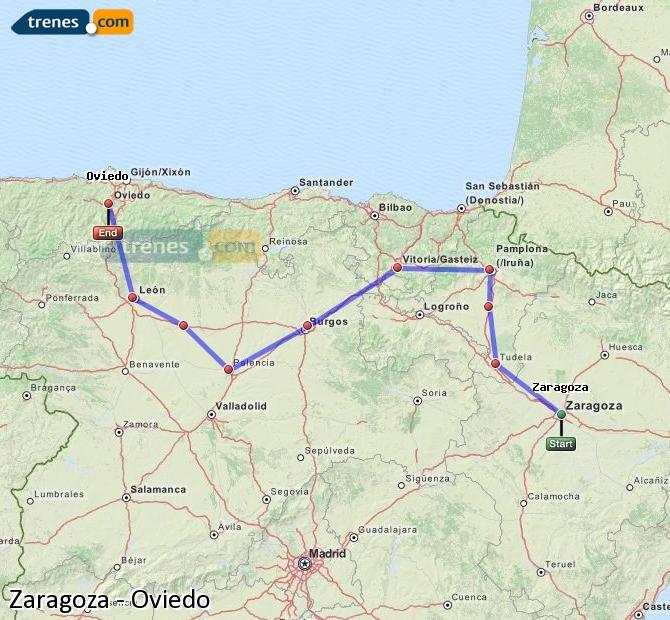Ingrandisci la mappa Treni Zaragoza Oviedo
