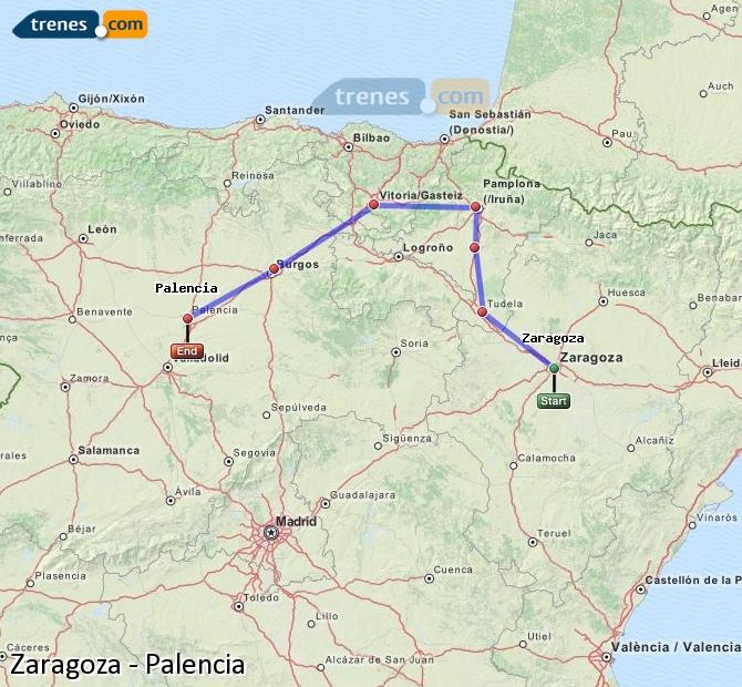 Ampliar mapa Trenes Zaragoza Palencia