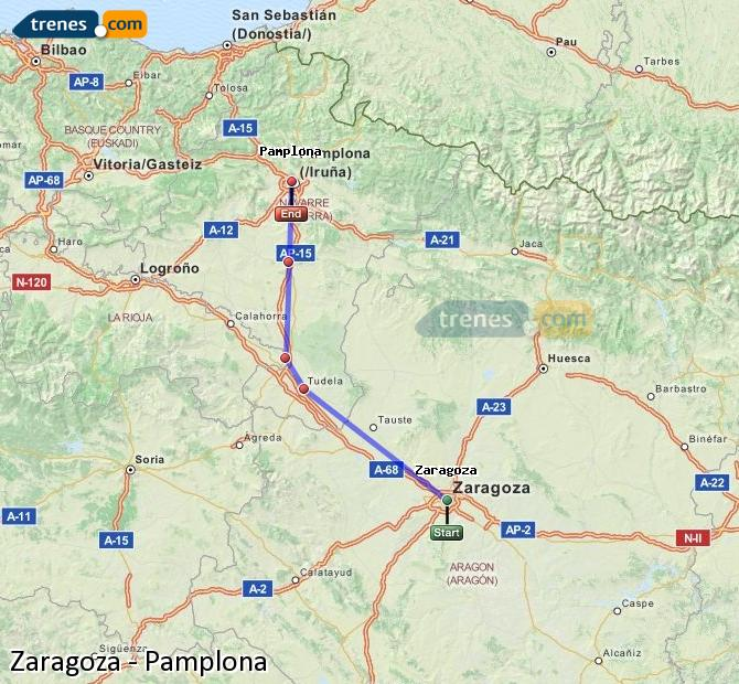 Enlarge map Trains Zaragoza to Pamplona