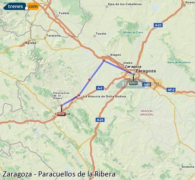 Ingrandisci la mappa Treni Zaragoza Paracuellos de la Ribera