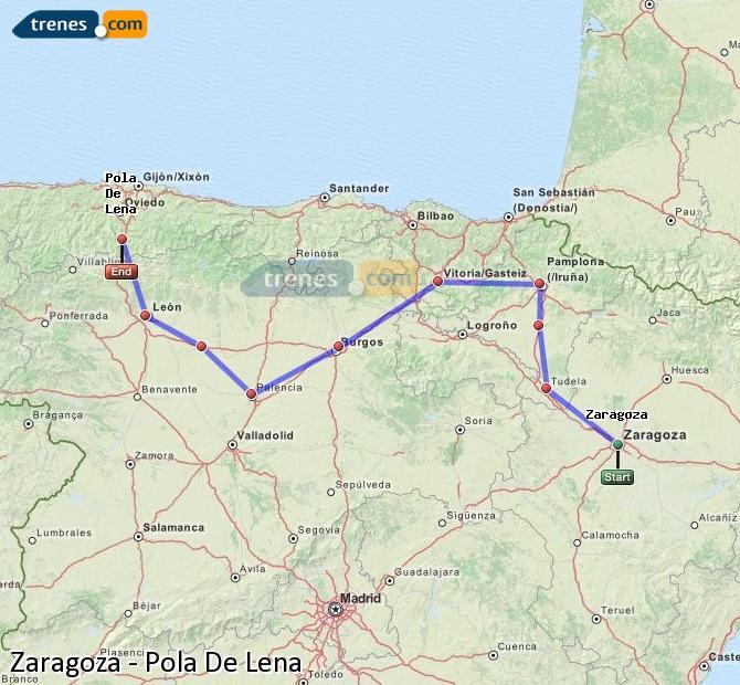 Ingrandisci la mappa Treni Zaragoza Pola De Lena