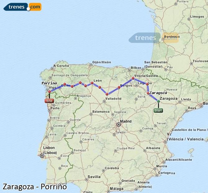 Ingrandisci la mappa Treni Zaragoza Porriño