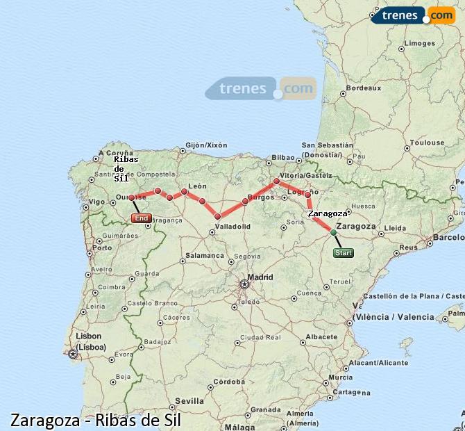 Ingrandisci la mappa Treni Zaragoza Ribas de Sil