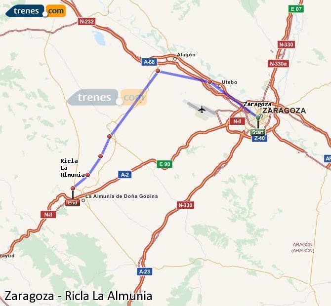Karte vergrößern Züge Zaragoza Ricla La Almunia