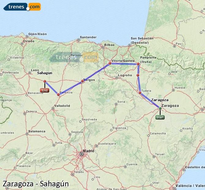 Karte vergrößern Züge Zaragoza Sahagún