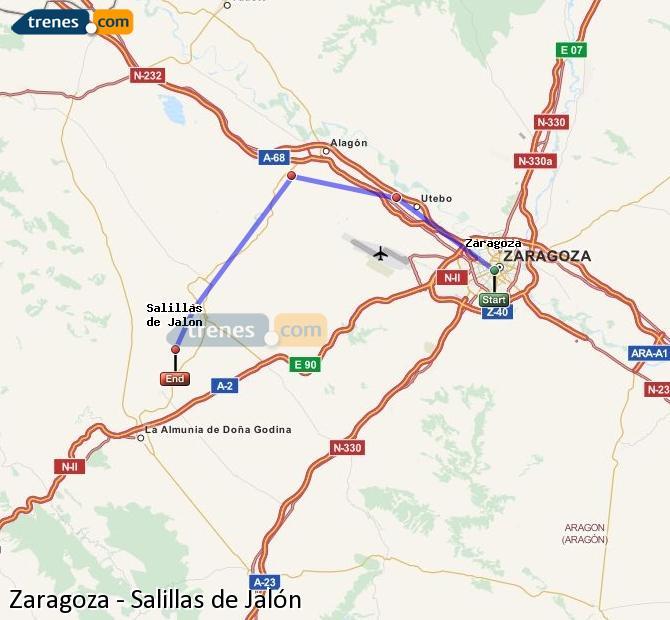 Ingrandisci la mappa Treni Zaragoza Salillas de Jalón
