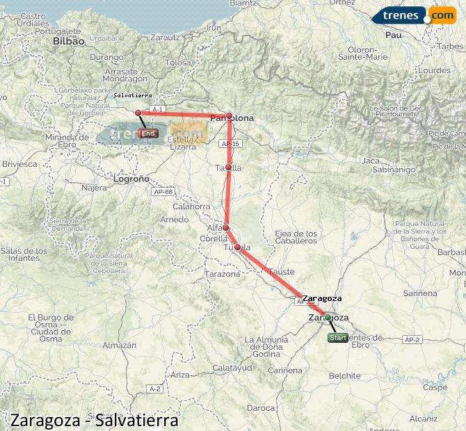 Ingrandisci la mappa Treni Zaragoza Salvatierra