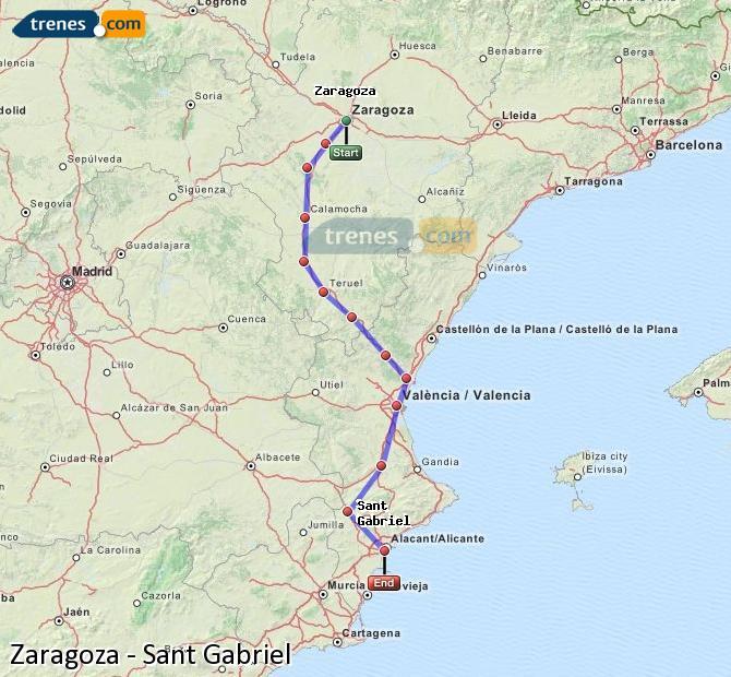 Ingrandisci la mappa Treni Zaragoza Sant Gabriel