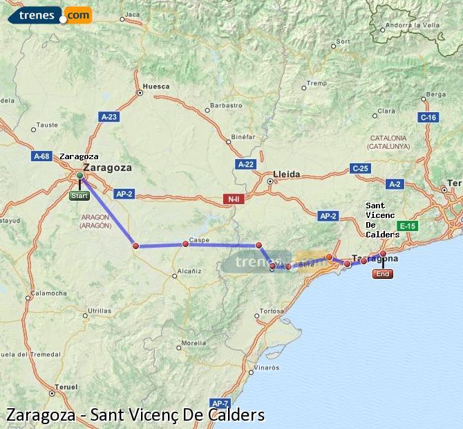 Enlarge map Trains Zaragoza to Sant Vicenç De Calders