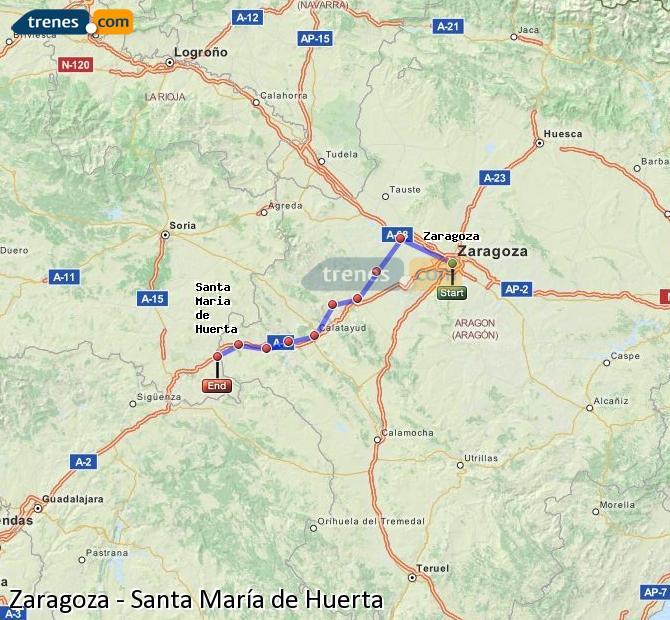 Karte vergrößern Züge Zaragoza Santa María de Huerta