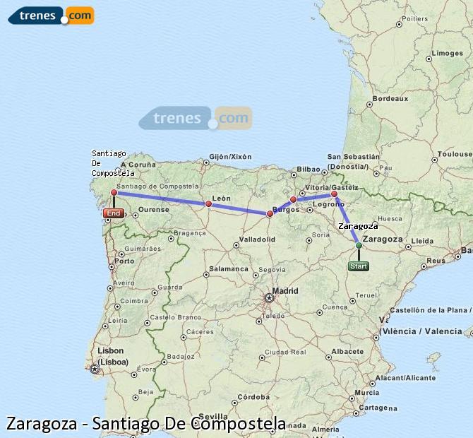 Ingrandisci la mappa Treni Zaragoza Santiago De Compostela