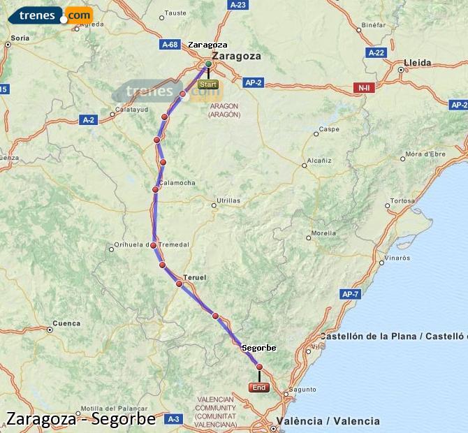 Ingrandisci la mappa Treni Zaragoza Segorbe