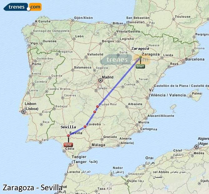 Enlarge map Trains Zaragoza to Seville