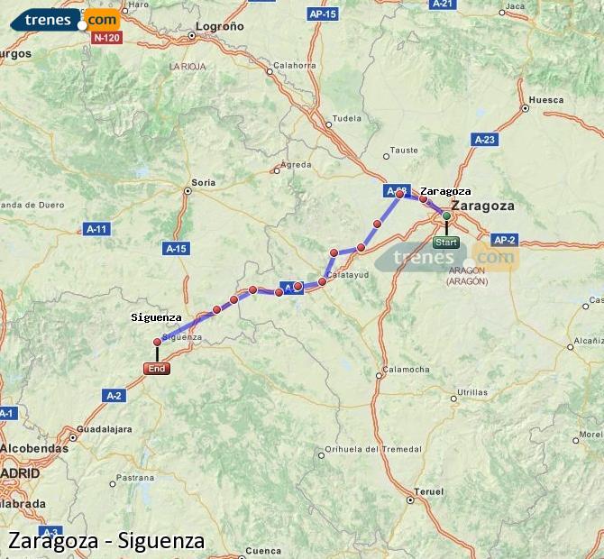 Karte vergrößern Züge Zaragoza Siguenza