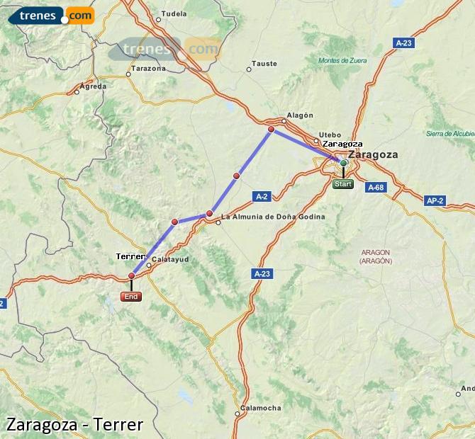 Karte vergrößern Züge Zaragoza Terrer