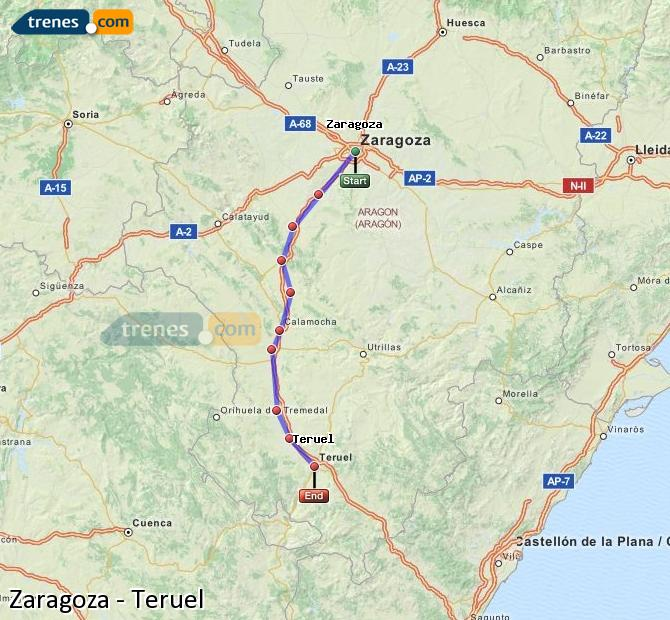 Enlarge map Trains Zaragoza to Teruel