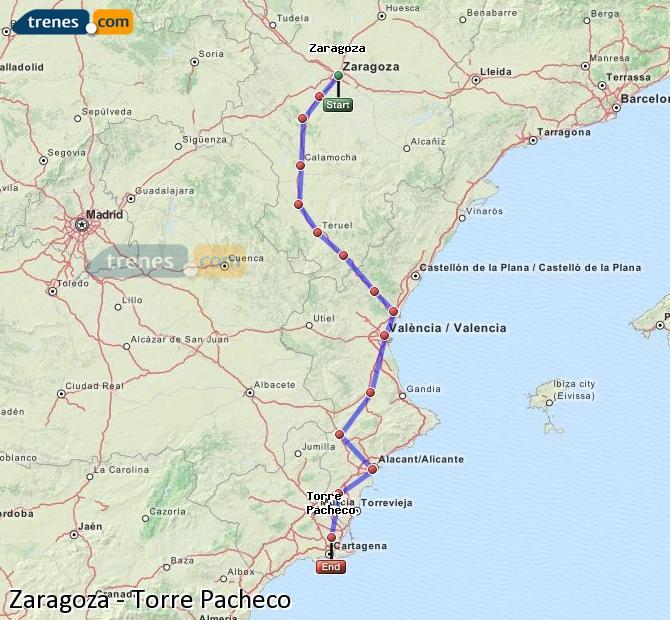 Karte vergrößern Züge Zaragoza Torre Pacheco