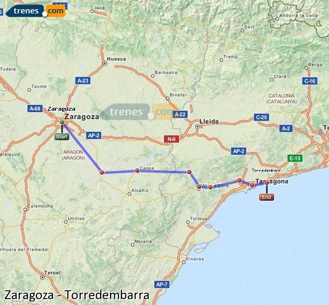 Karte vergrößern Züge Zaragoza Torredembarra