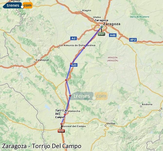 Karte vergrößern Züge Zaragoza Torrijo Del Campo