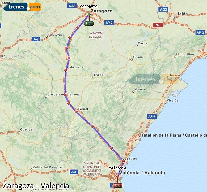 Ingrandisci la mappa Treni Zaragoza Valencia