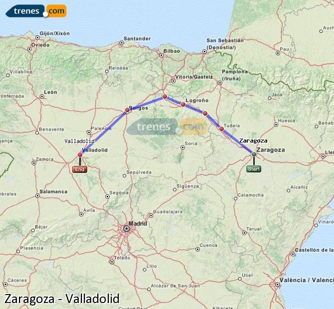 Karte vergrößern Züge Zaragoza Valladolid