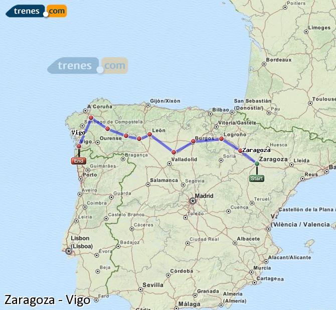 Karte vergrößern Züge Zaragoza Vigo