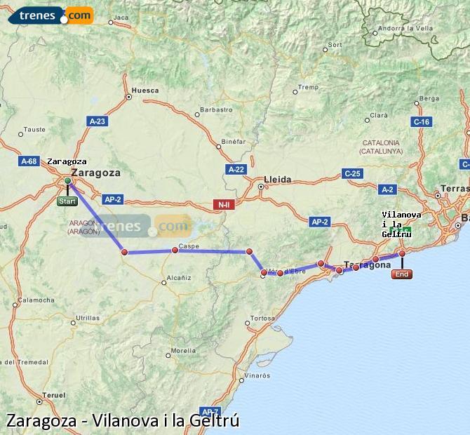 Agrandir la carte Trains Zaragoza Vilanova i la Geltrú